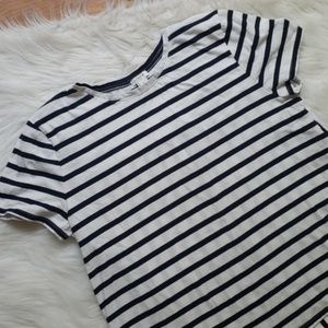 J Crew Factory Striped Open Back Top